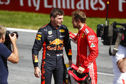 Sebastian Vettel, Ferrari, 3rd position, congratulates Max Verstappen, Red Bull Racing, 1st position