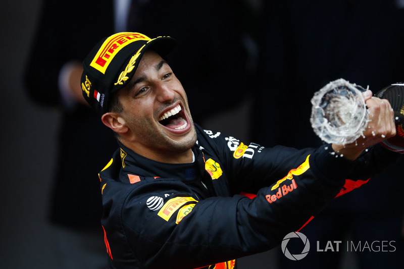 Race winner Daniel Ricciardo, Red Bull Racing, spray champagne on the podium