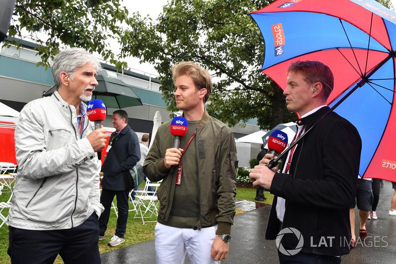 Damon Hill, Sky TV, Nico Rosberg, ambassadeur de Mercedes et Simon Lazenby, Sky TV
