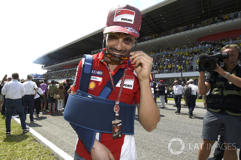 Michele Pirro, Ducati Team after his crash on the grid