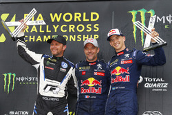 Winner Sébastien Loeb, Team Peugeot Total, second place Petter Solberg, PSRX Volkswagen Sweden, third place Timmy Hansen, Team Peugeot Total