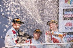 Podium: race winners Robin Frijns, Stuart Leonard, Dries Vanthoor, Audi Sport Team WRT celebrate with champagne