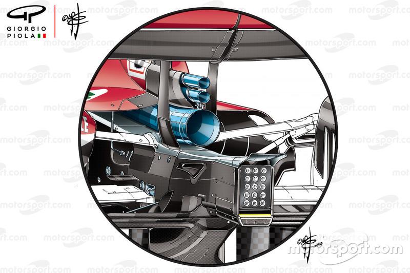 Ferrari SF71H, új kipufogó, Német GP