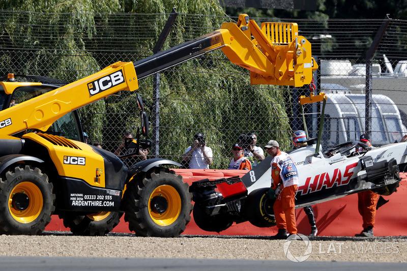 El Haas VF-18 de Romain Grosjean es retirado