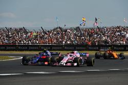 Pierre Gasly, Scuderia Toro Rosso STR13 and Sergio Perez, Force India VJM11