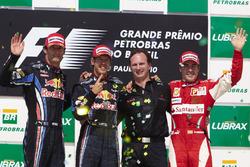 Podium: second place Mark Webber, Red Bull Racing RB6 Renault, Race winner Sebastian Vettel, Red Bull Racing RB6, Christian Horner, Team Principal, Red Bull Racing, third place Fernando Alonso, Ferrari