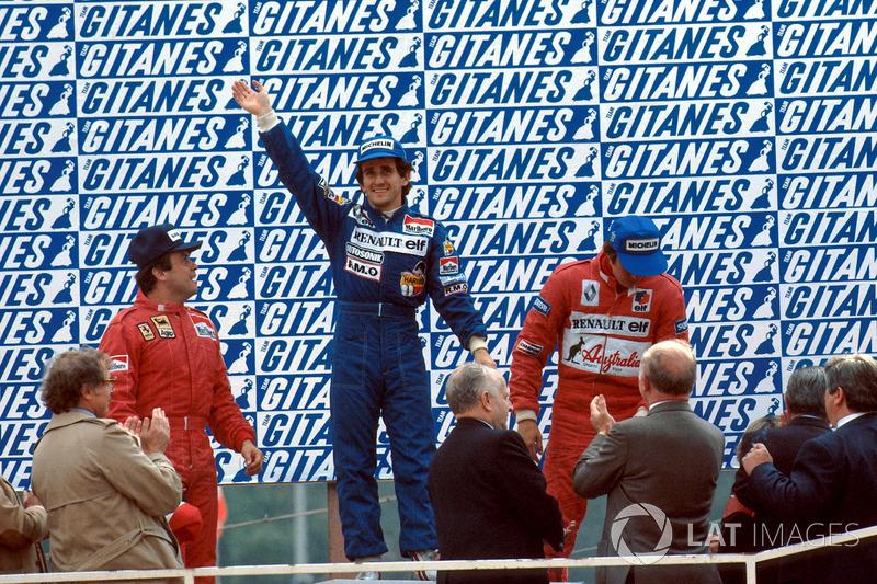 Podium: race winner Alain Prost, Renault, second place Patrick Tambay, Ferrari, third place Eddie Cheever, Renault