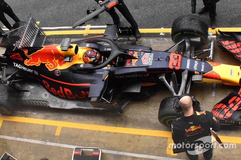 Max Verstappen, Red Bull Racing RB14 with sensor equipment