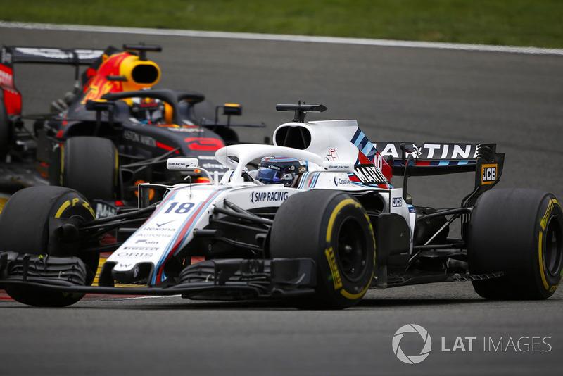 Lance Stroll, Williams FW41, y Daniel Ricciardo, Red Bull Racing RB14