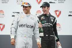 Podium: race winner Juan Pablo Montoya, Team Penske Chevrolet, second place Simon Pagenaud, Team Penske Chevrolet