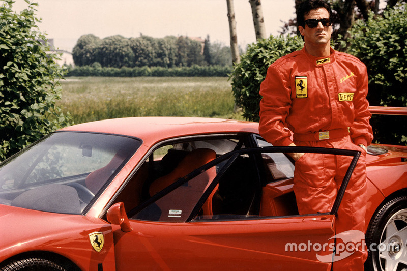 Ferrari F40 con Sylvester Stallone a Fiorano nel 1990