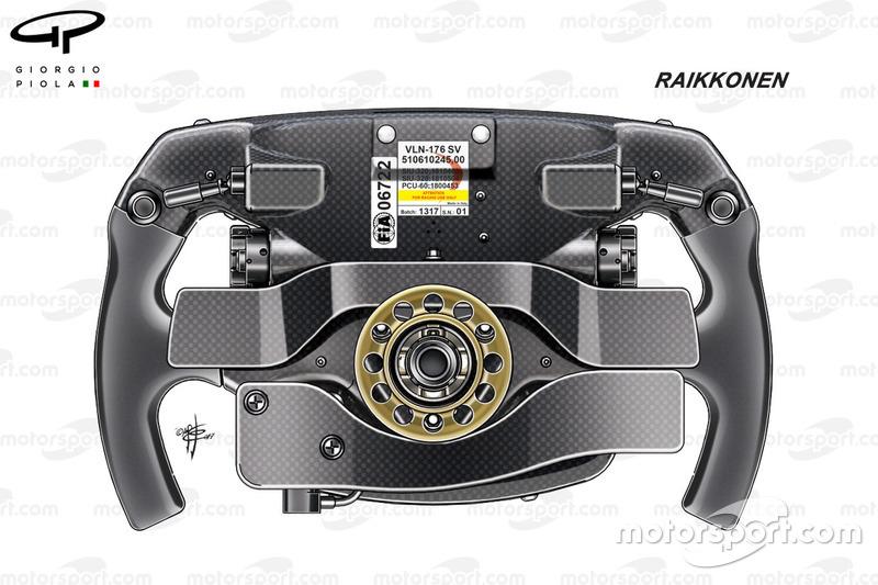 Ferrari SF70H : vue de dos du volant de Kimi Räikkönen