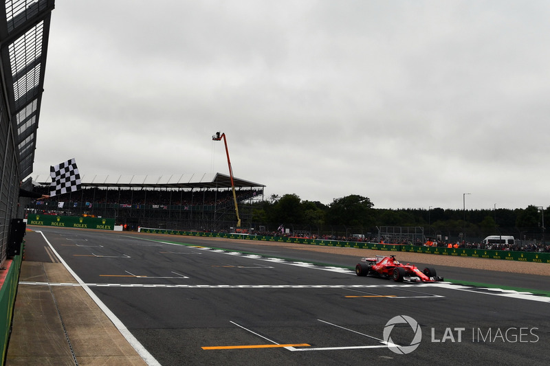 Sebastian Vettel, Ferrari SF70H takes the chequered flag at the end of Qualifying