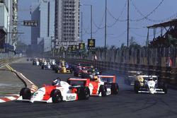 Mika Hakkinen leads Eddie Irvine and Michael Schumacher at the start of the race
