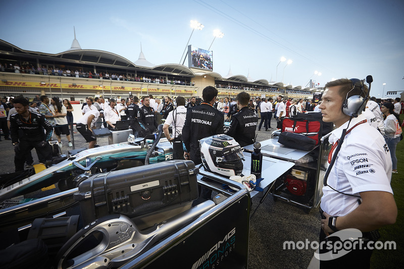 The Mercedes team on the grid
