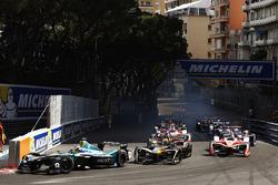 Nelson Piquet Jr., NEXTEV TCR Formula E Team, leads Esteban Gutierrez, Techeetah, at the start of the race