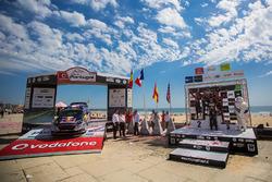 Winners Sébastien Ogier, Julien Ingrassia, M-Sport, second place Thierry Neuville, Nicolas Gilsoul, Dani Sordo, Marc Marti, Hyundai Motorsport