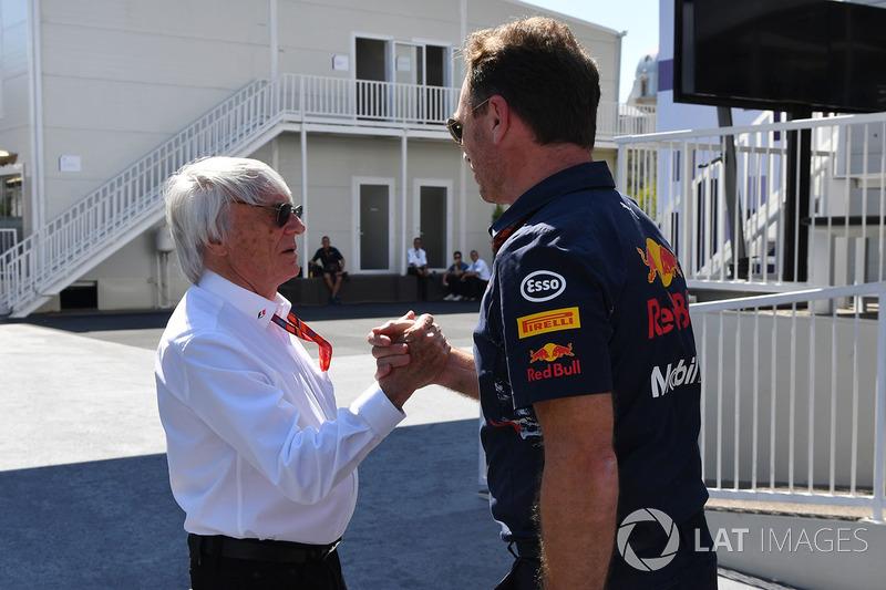 Bernie Ecclestone, mit Christian Horner, Red-Bull-Teamchef