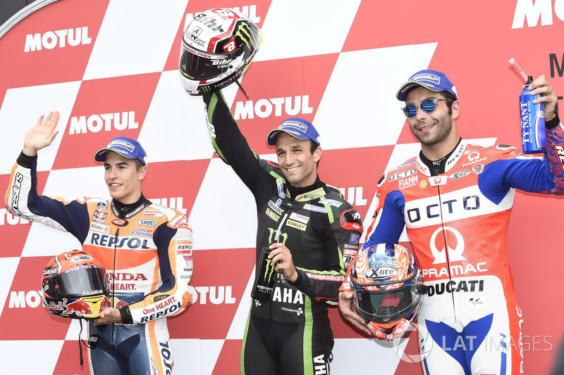 Los tres pireros calificados: Marc Márquez, Repsol Honda Team, ganador de la pole Johann Zarco, Monster Yamaha Tech 3, Danilo Petrucci, Pramac Racing