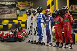 Netherlands driver Bono Huis, team-mate Jérôme d'Ambrosio, Dragon Racing Aleksi Uusi-Jaakola and tea