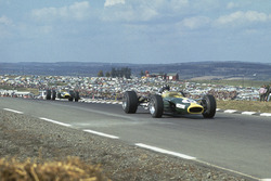 Graham Hill, Lotus 49 Ford leads Jim Clark, Lotus 49 Ford