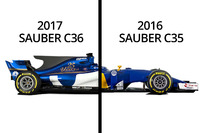 Sauber C35-C36 side view comparison