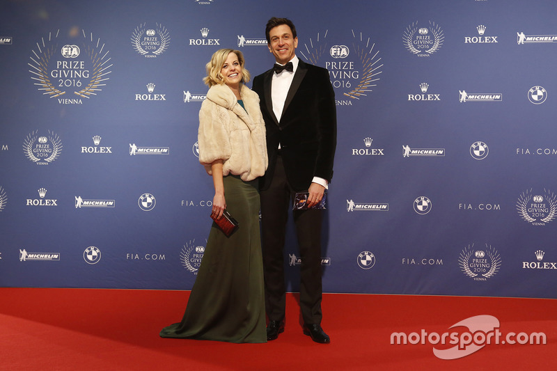 Toto Wolff, Mercedes AMG F1 Shareholder and Executive Director with wife Susie Wolff