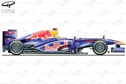 Red Bull RB7, vista laterale, vettura del lancio