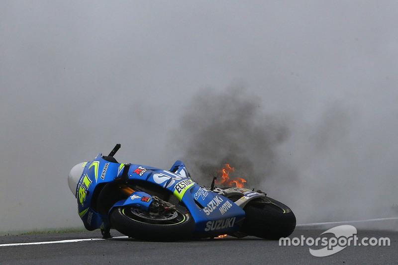 La moto en fuego de Aleix Espargaro, Team Suzuki MotoGP