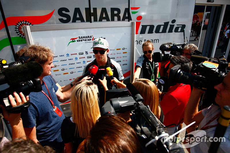 Nico Hulkenberg, Sahara Force India with the media