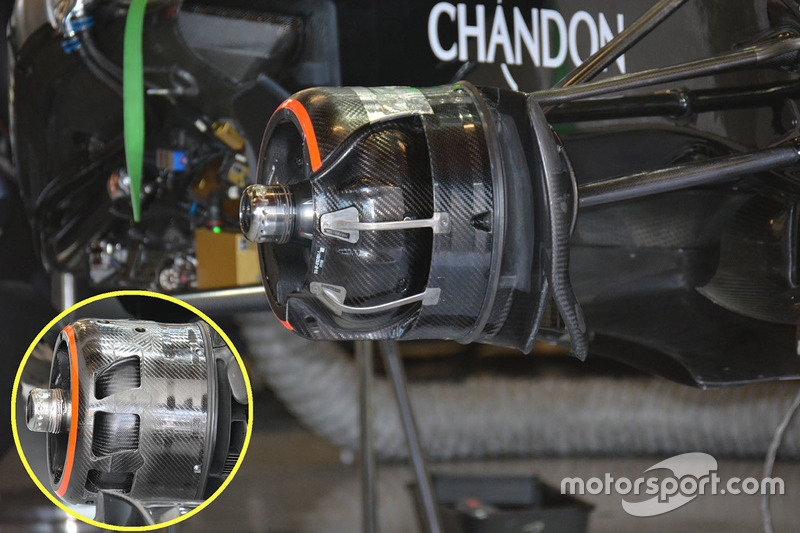 McLaren MP4-31, dettaglio del cestello dei freni