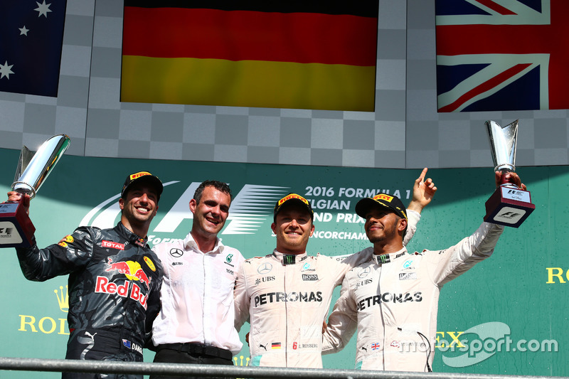 1st place for Nico Rosberg, Mercedes AMG Petronas F1 W07, 2nd place for Daniel Ricciardo, Red Bull R