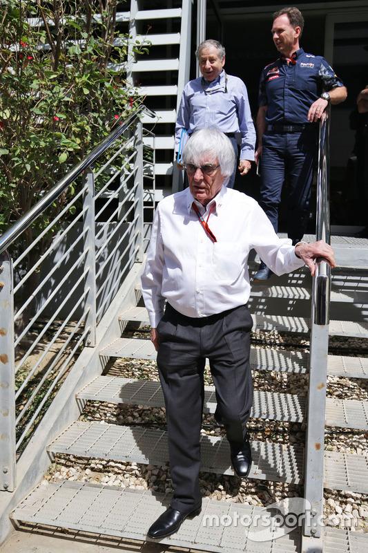 Bernie Ecclestone, Jean Todt, FIA President en Christian Horner, Red Bull Racing teambaas
