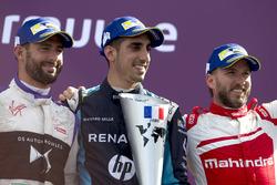Sébastien Buemi, Renault e.Dams, celebrates on the podium with Jose Maria Lopez, DS Virgin Racing, and Nick Heidfeld, Mahindra Racing