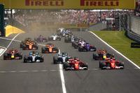 Sebastian Vettel, Ferrari SF70H, Kimi Raikkonen, Ferrari SF70H, Valtteri Bottas, Mercedes AMG F1 W08, Lewis Hamilton, Mercedes AMG F1 W08, Max Verstappen, Red Bull Racing RB13 Daniel Ricciardo, Red Bull Racing RB13 startta