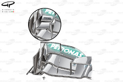 Mercedes W03 cascade-less low downforce front wing