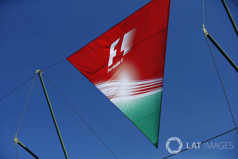 The Hungarian national colours on a flag in the paddock