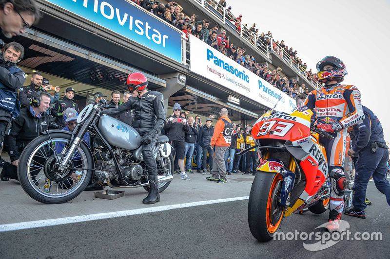 Marc Marquez, Repsol Honda Team with Sammy Miller and the 1949 AJS Porcupine E90