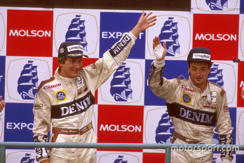 Podio: il vincitore della gara Thierry Boutsen, Williams Renault, il secondo classificato Riccardo P