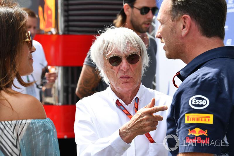 Bernie Ecclestone mit Ehefrau Fabiana und Christian Horner, Red-Bull-Teamchef