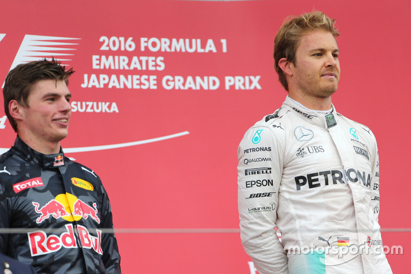 Nico Rosberg, Mercedes AMG F1 Team; Max Verstappen, Red Bull Racing