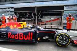 Daniel Ricciardo, Red Bull Racing RB12 leaves the pits running the Aero Screen