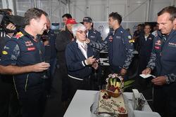 F1 supremo Bernie Ecclestone is presented with a birthday cake by Christian Horner, Red Bull Racing Team Principal, Niki Lauda, Mercedes GP non-executive chairman, Dr Helmut Marko, Red Bull Racing Team Consultant, Toto Wolff, Mercedes GP Executive Director, Daniel Ricciardo, Red Bull Racing, Max Verstappen, Red Bull Racing and the Red Bull Racing team
