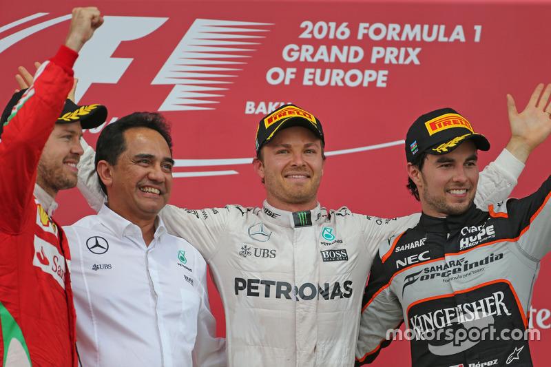 Sebastian Vettel, Scuderia Ferrari, Nico Rosberg, Mercedes AMG F1 Team, Sergio Perez, Sahara Force I