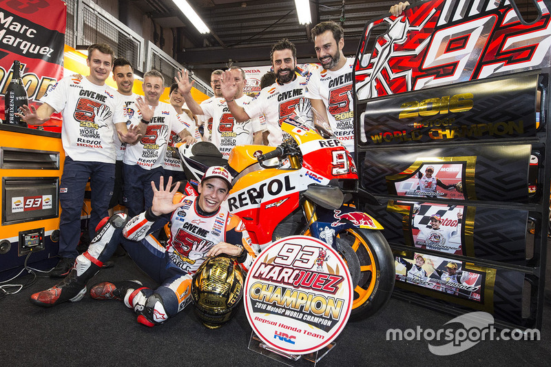 Race winner Marc Marquez, Repsol Honda Team celebrates with his team