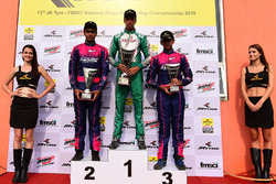 Podium: Race winner Ricky Donison, BPC Racing, second place Nayan Chatterjee, Meco Racing, third place Mrinal Chatterjee, Meco Racing