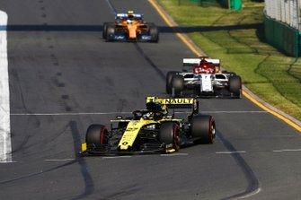 Nico Hulkenberg, Renault F1 Team R.S. 19, leads Kimi Raikkonen, Alfa Romeo Racing C38, and Lando Norris, McLaren MCL34