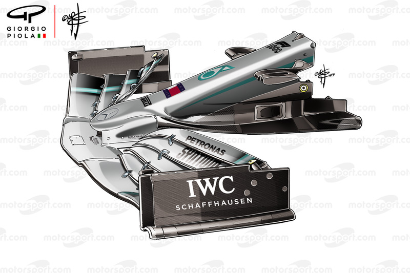Mercedes W10 front wing