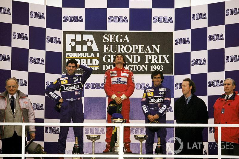Le vainqueur Ayrton Senna, McLaren, le second Damon Hill, Williams, le troisième Alain Prost, Williams