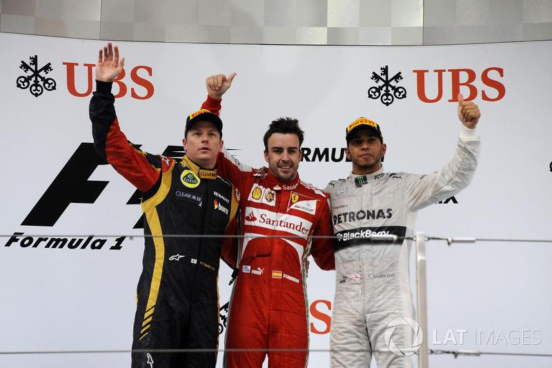 2013: 1. Fernando Alonso, 2. Kimi Raikkonen, 3. Lewis Hamilton